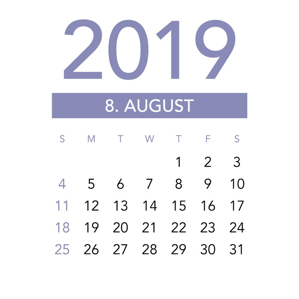 Calendar of August 2019